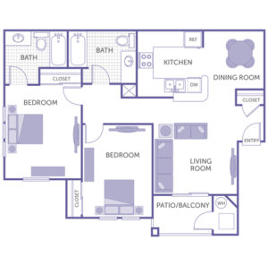 2 bed 1 bath floor plan, kitchen and dining room, living room, patio/balcony, 3 closets, washer and dryer in unit
