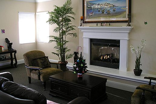 Community center with seating and fireplace